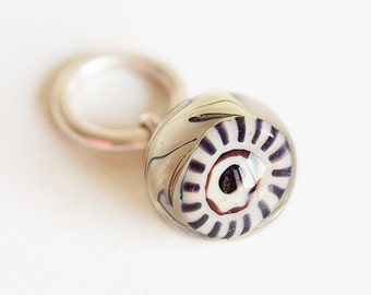 Artisan Lampwork glass Charm bead. Dangle Charm pendant. Lampwork bead handmade, Fits Pandora. European bracelet bead dangle