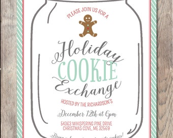 Christmas Cookie Exchange Invitation, Christmas Party Invitation, Christmas Invites, Cookie Exchange Invite, Christmas Party, Christmas Card
