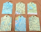 20-Map Tags-Travel Theme Wedding decorations-atlas map die cuts-destination party favors-vintage-bridal shower gift tag-rustic wedding decor