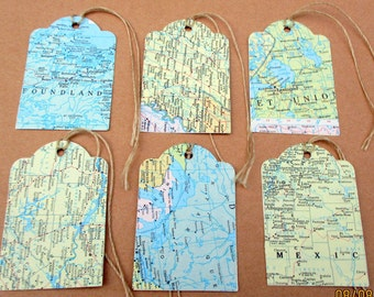 25-Map Tags-Travel Theme Wedding decorations-atlas map die cuts-destination party favors-vintage-bridal shower gift tag-rustic wedding decor