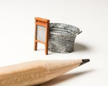 Quarter scale miniature tub and washboard (1:48th quarter inch scale) 3D printed, for dollhouse (dollshouse), terrarium, diorama, gift