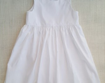 "White Pinpoint Oxford Float Dress Embroidery Blank Monogram Blank  Matching 18"" Doll Dress Available"