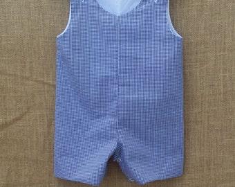 """Jon Jon 1/16"""" Gingham Jon Jon Romper Shortall Embroidery Blank MTO"""