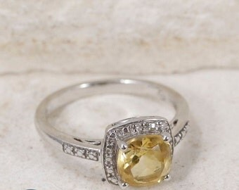 Sterling Silver and White Sapphire Citrine Size 6.75 Ring NBJ114