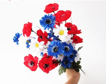 GRAND SALE 9 Branches Silk Poppies Daisies Cornflowers Bouquet Artificial Flowers Bouquets Branch Green Red White Blue Faux Fake Fabric Wild