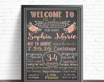 Floral Baby Shower Chalkboard Sign // Shabby Chic // Shower Decorations // Nursery Decor // It's A Girl // Flower Bouquet  //