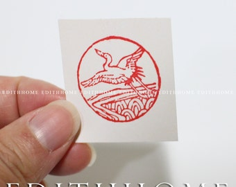 Flying Crane Stone Seal - Chinese 2.5Dia cm Round Stamp Chop w/ Gift Box (Free Shipping)