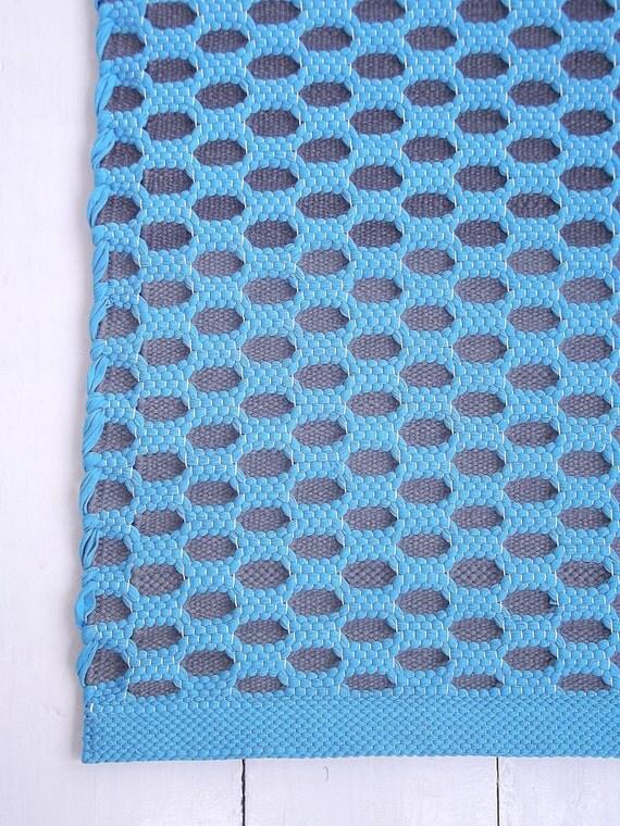 grey turquoise runner rug cotton rug handmade rug