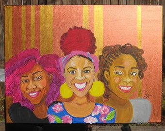 SALE! Curlfriends Version 2 - 18x24 Acrylic Painting