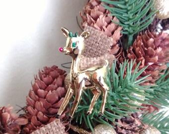 Reindeer brooch, 1950's vintage Rudolph Christmas pin