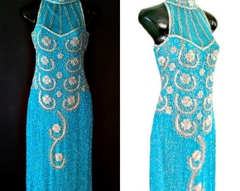 Kia Sky Blue Embellished Evening Formal Dress, 1920's Great Gatsby Dress, Art Deco Flapper Dress, Prom Dress, 20s Beaded  Charleston Dress M