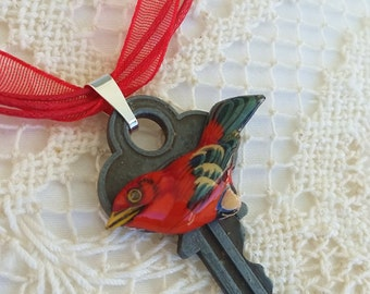 Key Necklace, Red Ribbon Chain, Red Bird Pendant, Vintage Bird Earring, Wooden Bird, Gift for Birdwatcher, Key Necklace, Upcycled Jewelry