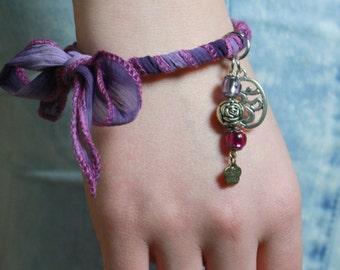"Purple Charm Bracelet, Fabric Tied Bracelet, Bangle, Yoga ""Om"" Bracelet, Arm Candy - 00032"