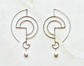 Silver Geometric Earrings, Sculpted  Organic Silver Earrings, Modern Earrings Inspired by Lines, Geometric Jewelry for her, Classy Jewelry