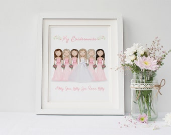 Custom Bridal Party Portrait - Bridesmaid Gift - Wedding Keepsake Gift -  Bride Gift from Bridesmaid - Bride Gift Ideas - Wedding Art