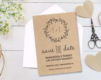 Save the Date Card Template, Printable Classic Wreath Save the Date Card, DIY Instant download, Editable text, wedding stationary