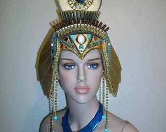 Cleopatra Headdress, Egyptian Headdress, Kentucky Derby, Mardi Gras Parade, Halloween Costume, Fantasy Fest, Burning Man, Rave Festival