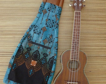 Ukulele Bag- Concert, Soprano, Tenor, Baritone sizes, -Turquoise and Black Cotton Print, Leather Head Sock, Gig Bag, Uke Case