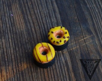 "Yellow Donut Eyelets plugs,Ear gauges 8,10,11,12,14,16,18,20,22,24,26,28,30mm;4g,2g,0g,00g;5/16"",3/8"",1/2"",9/16"",5/8"",3/4"",7/8"",1 1/4"" inch"