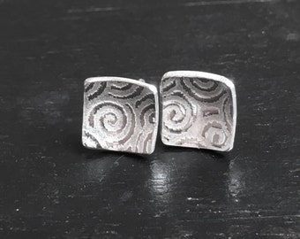 Square Silver Stud Earrings, Silver Spiral Earrings, Silver Earring Studs, Handmade in UK