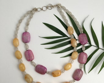 CLEARANCE Double Strand Golden Quartz and Pink Jasper Necklace