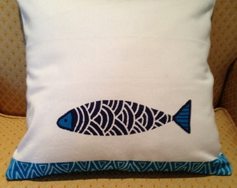 Blue and Turquoise Fish Pillow Cover