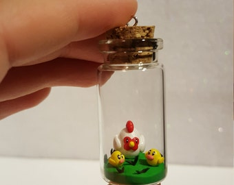 Polymer Clay Harvest Moon Chickens Glass Bottle Charm