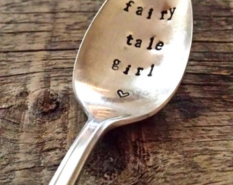 "Upcycled vintage silver spoon hand stamped ""fairy tale girl"""