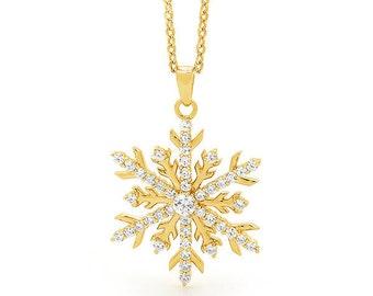 Snow Jewel - 18ct Gold Diamond Snowflake Pendant Necklace