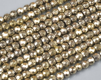 PYRITE-COLOR LT Gold Hematite Faceted Round 2mm, 3mm, 4mm, 6mm, 8mm