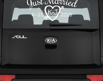 Just Married Car Decal - Personalized Vinyl Decal  - Window Decal - Vehicle Decal