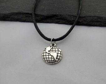 Earth Choker Necklace, Globe Choker, World Choker, Charm Necklace, Black Cord Necklace, Travel Necklace, Earth Necklace, Travel Gift