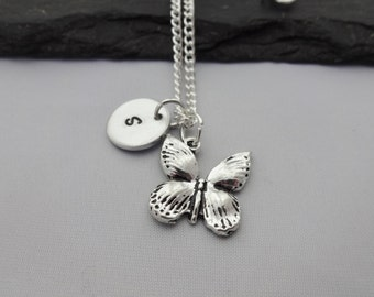 Initial Butterfly Necklace, Butterfly Necklace, Initial Charm Necklace, Charm, Butterfly Gifts, Personalised Butterfly Gifts, Gift For Her