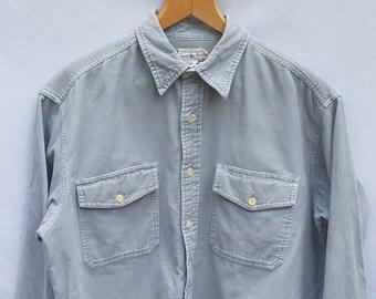 M J. Crew Light Gray Coudoroy Long Sleeve Men's Shirt