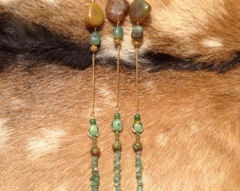 Long Green Agate Geode and Stone Necklace