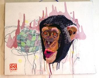 chimpanzee. Crochet + painting 60 x 50 cm