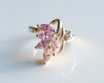 Vintage 925 Sterling Silver Pink & Clear Cubic Zirconia Spray Ring Size 5 3/4 - L