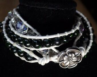 Three wrap white leather bracelet