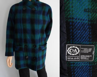 Blue green plaid check coat jacket C&A 80s vintage double breasted wool winter coat Medium Large