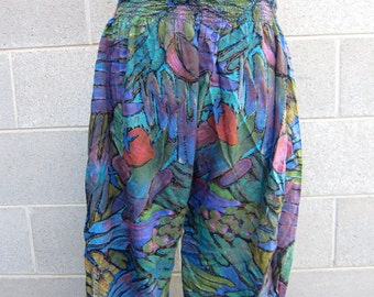 Vintage multi coloured high waisted stretch pants