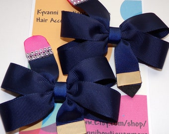 "Back to school pinwheel navy blue pencil hair bow. Set of 2. ""FREE SHIPPING."""