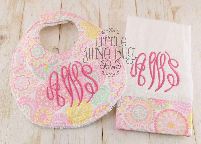 girly pink monogram bib and burp cloth set baby girl gift
