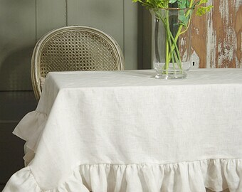 Pure Linen Ruffled Tablecloth