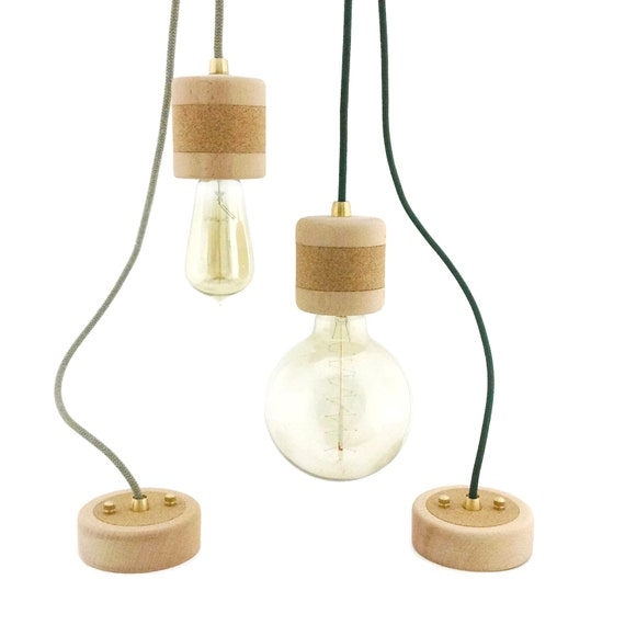 Wood Cork Pendant Light Wooden Pendant Lamp Edison Bulb
