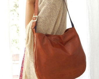 Brown leather hobo bag, leather hobo bag, hobo purse, everyday bag, women's purse, leather purse, leather bag