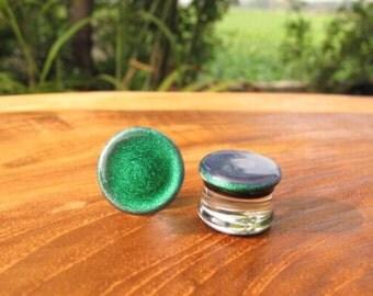 "Emerald Green Dichroic Glass Plugs  10g 8g 6g 4g 2g 0G 00g  7/16"" 1/2"" 9/16"" 5/8"" 3/4"" 7/8"" 1"" 2.5 mm 3 mm 4 mm 5 mm 6 mm 8 mm 10 mm - 25 mm"