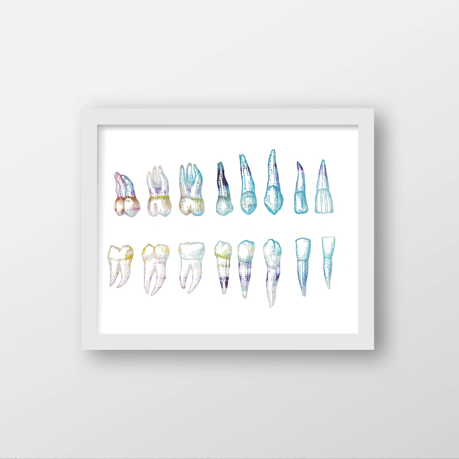 Wall Art For Dental Office : Dentist abstract watercolor art print wall office