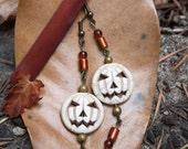 Halloween White Jack O'Lantern Pumpkin Earrings
