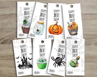 Printable Halloween Favor Tags, Kids Halloween Party Favor Tags, Treat Bag Tag diy, Halloween Party Decoration diy, set of 8 Halloween tags
