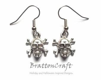 Skull and Crossbones Earrings - Jolly Roger Earrings - Halloween Earrings - Pirate Earrings - Skull and Bones Earrings - Epsteam